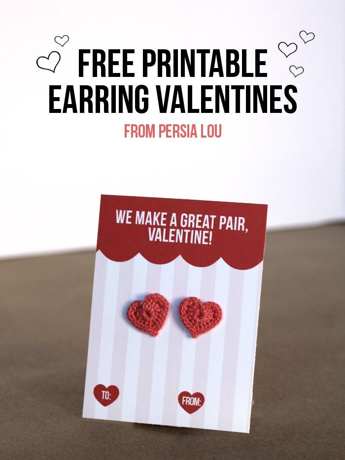 Free Printable Earring Valentines