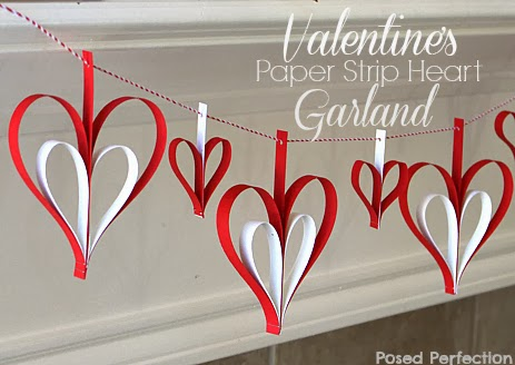 Valentine's Paper Strip Heart Garland