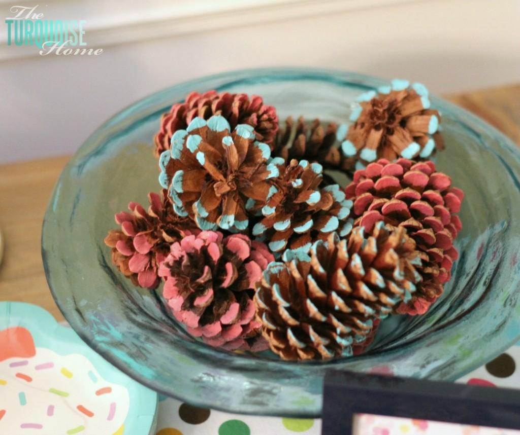 Colored Pine Cones #sprinkles # birthday