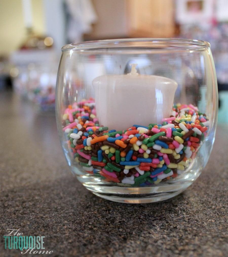 Candles in sprinkles