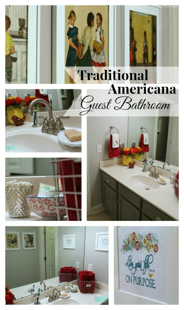 traditional americana guest bathroom update painted walls cabinets new hardware and a
