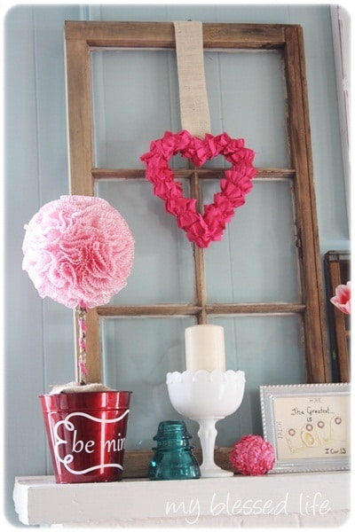 Valentine's Day Mantel from My Blessed Life