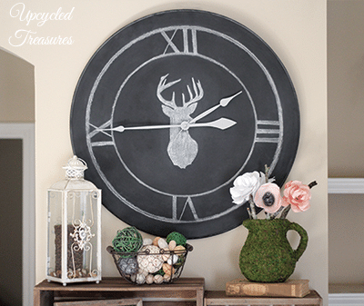 Table Upcycled into a Chalkboard Clock