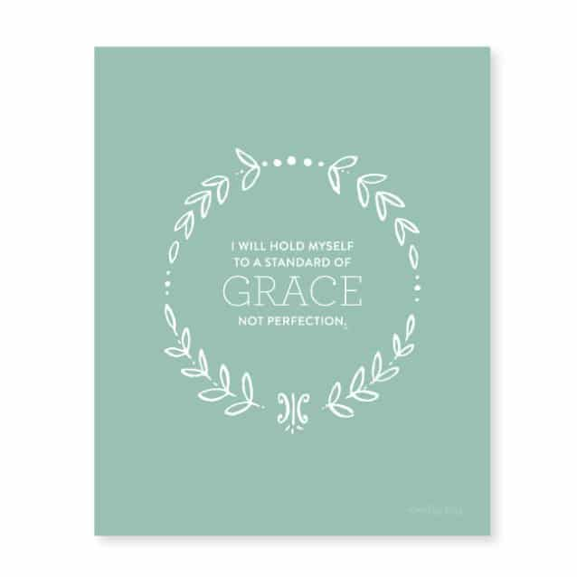 I will hold myself to a standard of grace, not perfection. - Emily Ley
