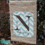 No-Sew Monogrammed Burlap Garden Flag