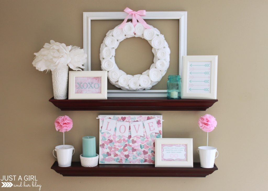 Pink & Aqua Valentine's Shelf Decor