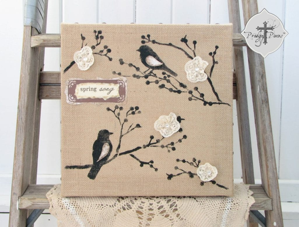DIY Stenciled Burlap Canvas Art
