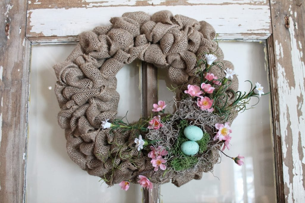 Spring Burlap Wreath with Flowers and Nests