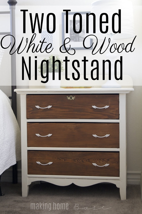 Two Toned White and Wood Nightstand
