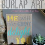 DIY Stenciled Burlap Art + Free Silhouette Stencil Files