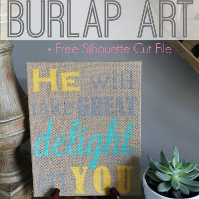 DIY Stenciled Burlap Art + Free Silhouette Stencil Files