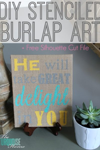 DIY Stenciled Burlap Art