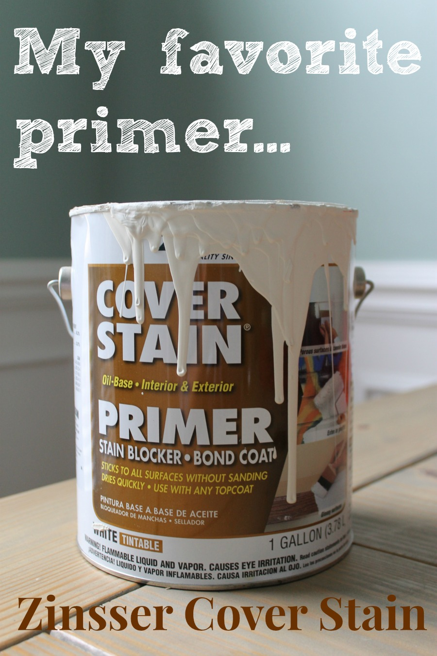 My favorite primer for painting cabinets is Zinger's Cover Stain!