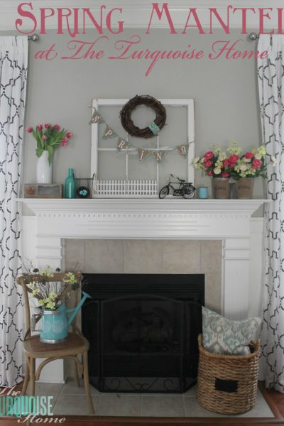 Pink & Turquoise Spring Mantel   TheTurquoiseHome.com