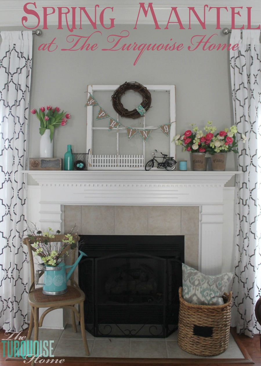 Pink & Turquoise Spring Mantel | TheTurquoiseHome.com
