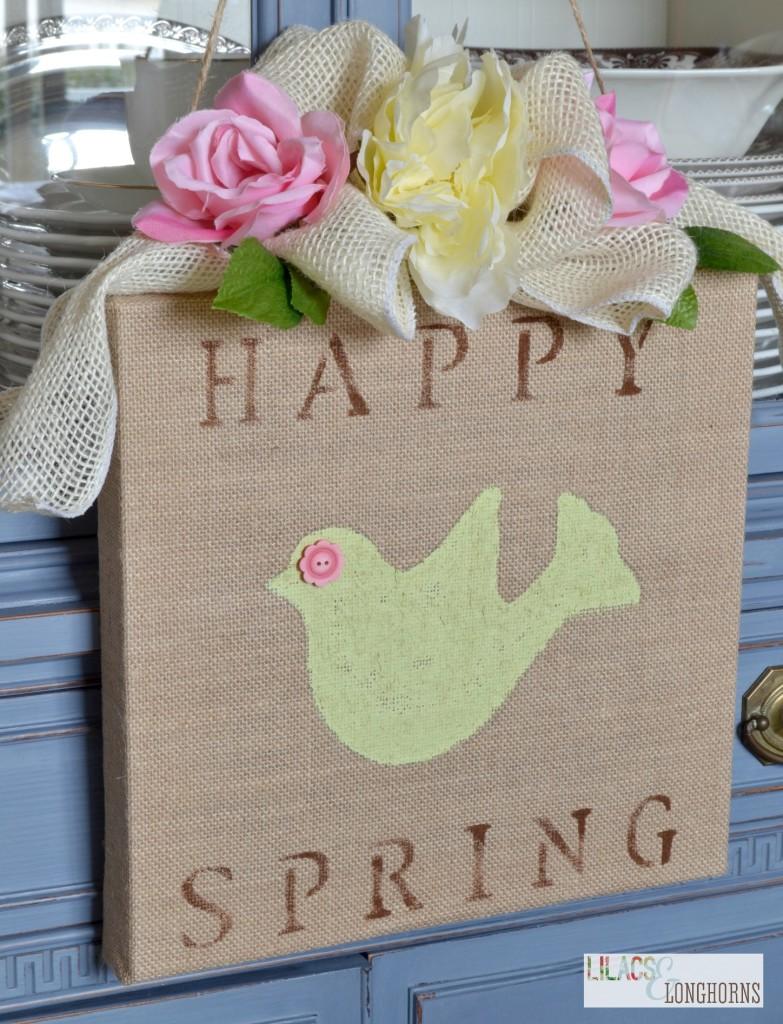 Happy Spring Burlap Canvas Art