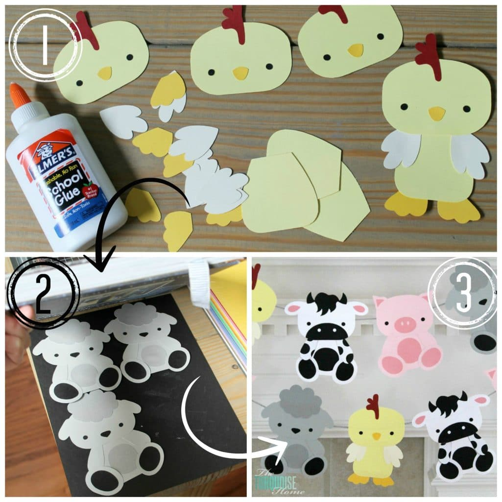 Barnyard animal birthday party with a cute paper garland for Animals decoration