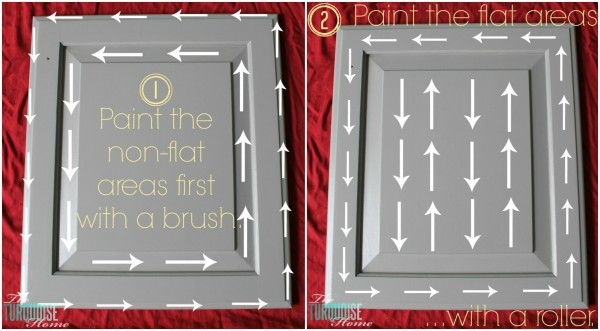 How to Paint Your Kitchen Cabinets with a roller and a brush | TheTurquoiseHome.com