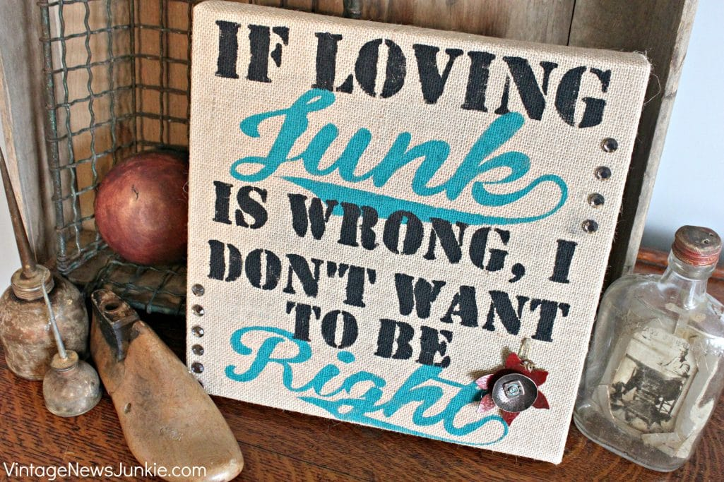 Junky Burlap Painted Sign