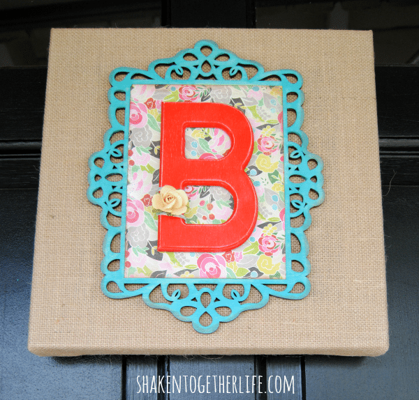 Layered Wooden Frame Monogram Burlap Canvas