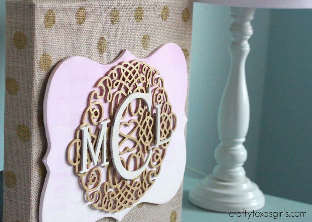 Pink Gold Burlap Monogram Art
