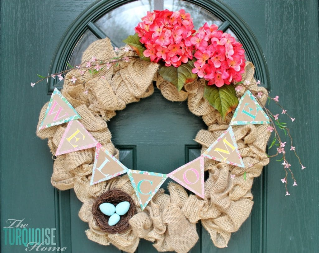 Easily Changeable Spring Wreath via The Turquoise Home