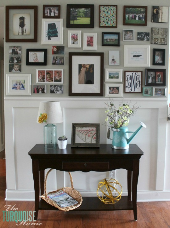 Spring Gallery Wall | TheTurquoiseHome.com & Console Table Update: Decor and Frame Placement