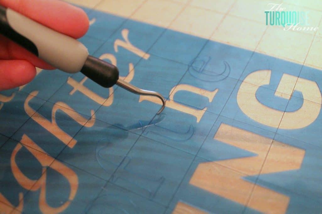 DIY Stenciled Burlap Art - weeding stencils