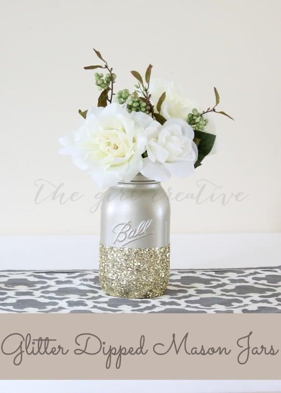Glitter-dipped Mason Jars