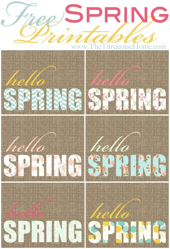 "Free ""Hello Spring"" Printables at TheTurquoiseHome.com"