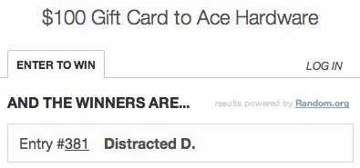 Ace Hardware $100 Gift Card Winner