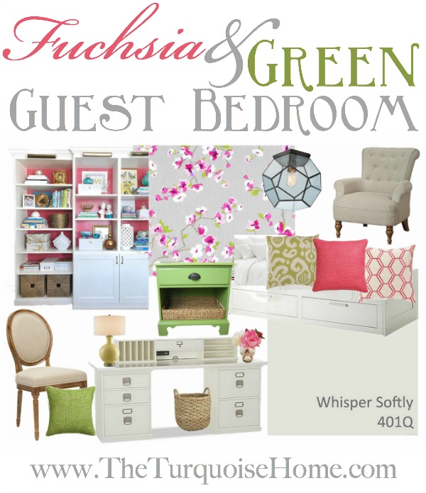 Fuchsia and Green Guest Bedroom/Office Inspiration Board