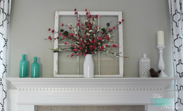 Spring Mantel and Revere Pewter Paint Color | TheTurquoiseHome.com