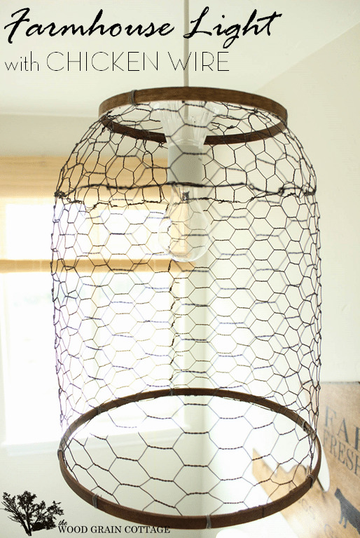 Farmhouse Light with Chicken Wire