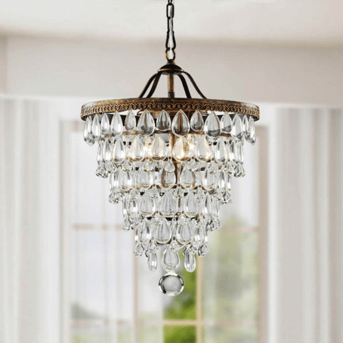 Cone Shape 4-light Antique Copper Crystal Chandelier | Overstock