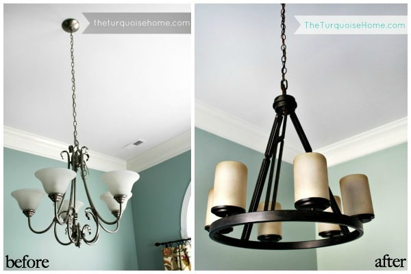 Before and After Dining Room Chandelier
