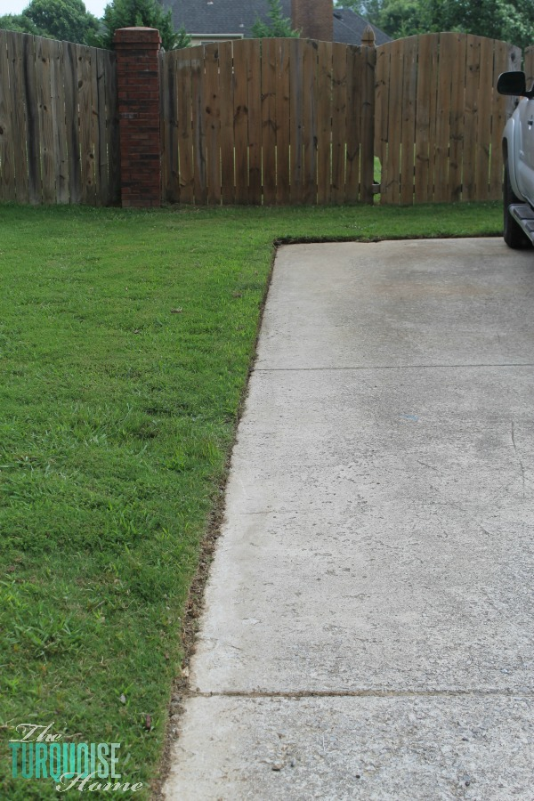 The driveway after edging | TheTurquoiseHome.com