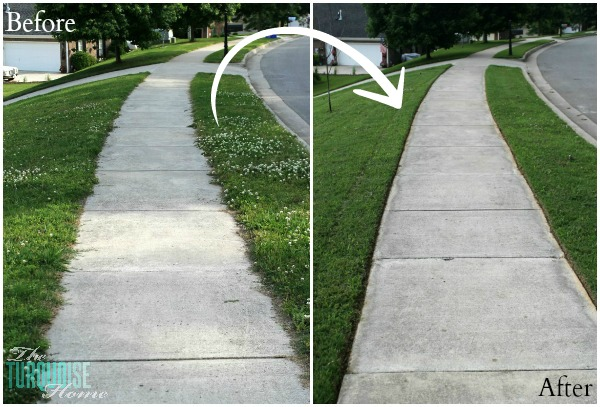 Sidewalk Before and After Edging | TheTurquoiseHome.com