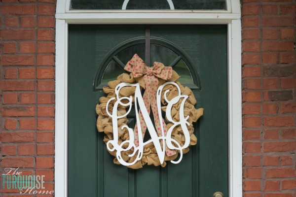 Wooden Monogram Burlap Wreath
