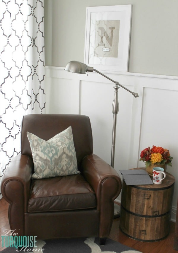 Cozy Reading Corner with lamp and side table from @HomeGoods #homegoodshappy