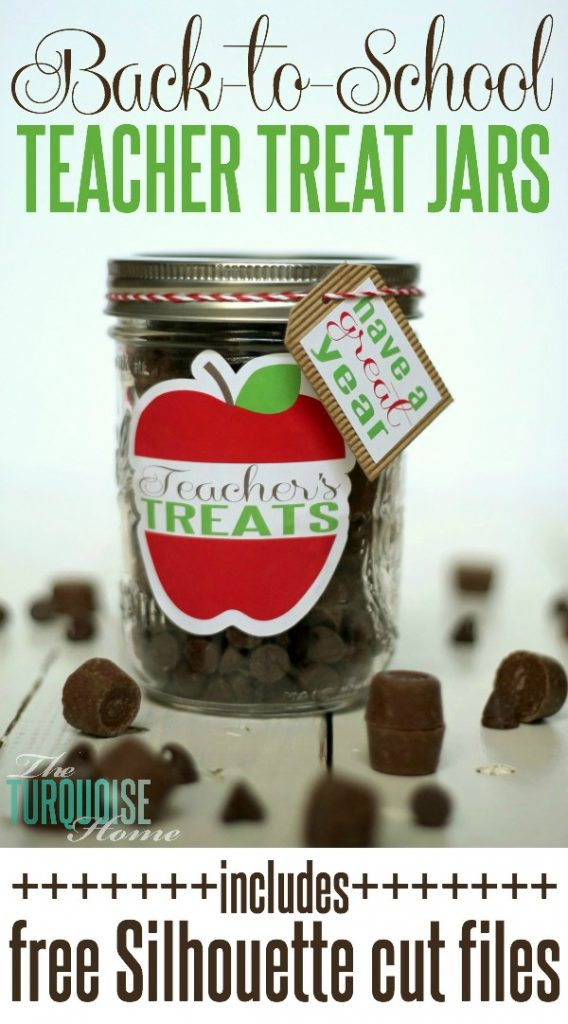 Back-to-School Teacher Treat Jars {includes free Silhouette cut files}
