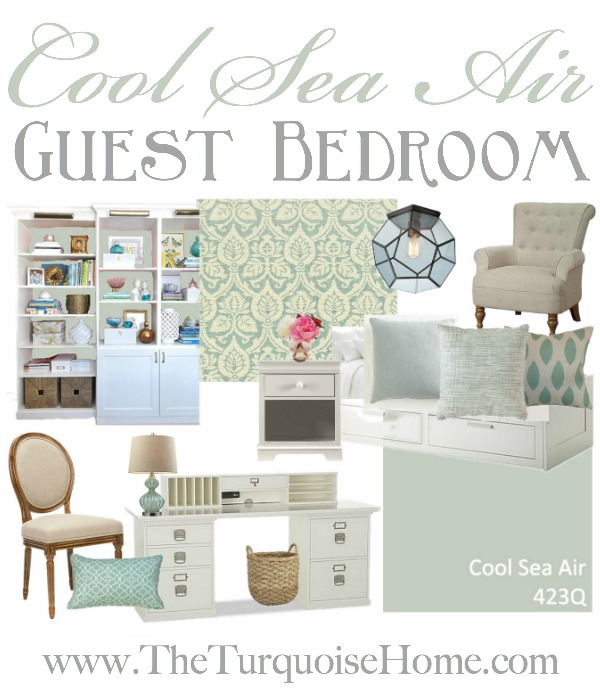 Cool Sea Air Guest Bedroom Inspiration Board | TheTurquoiseHome.com