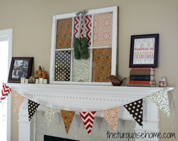 Simple Fall Mantel | TheturquoiseHome.com