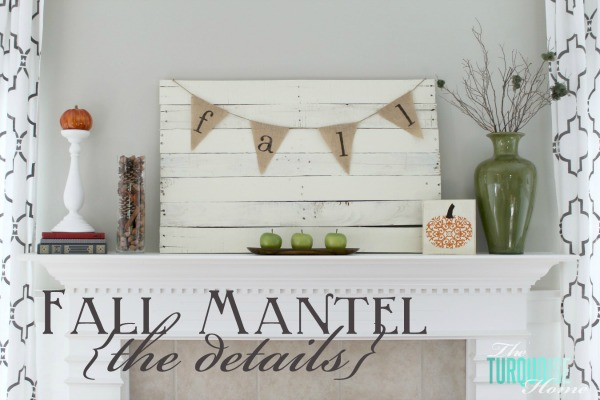 Green and Orange Planked Pallet Fall Mantel | TheTurquoiseHome.com