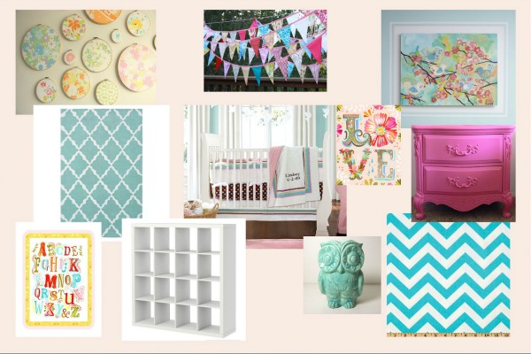 Turquoise and Pink Girl's Room Inspiration Board