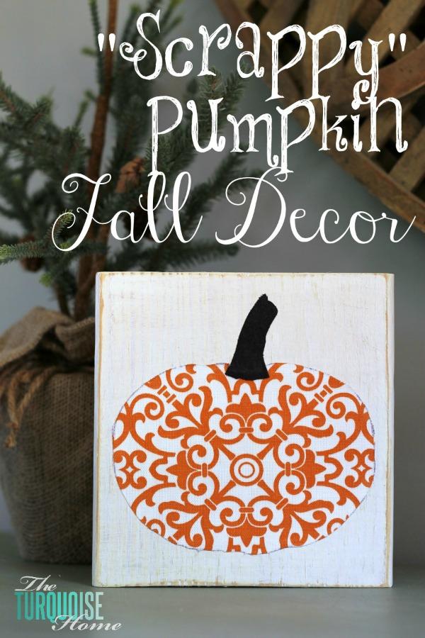 Scrappy Pumpkin Fall Decor | TheTurquoiseHome.com