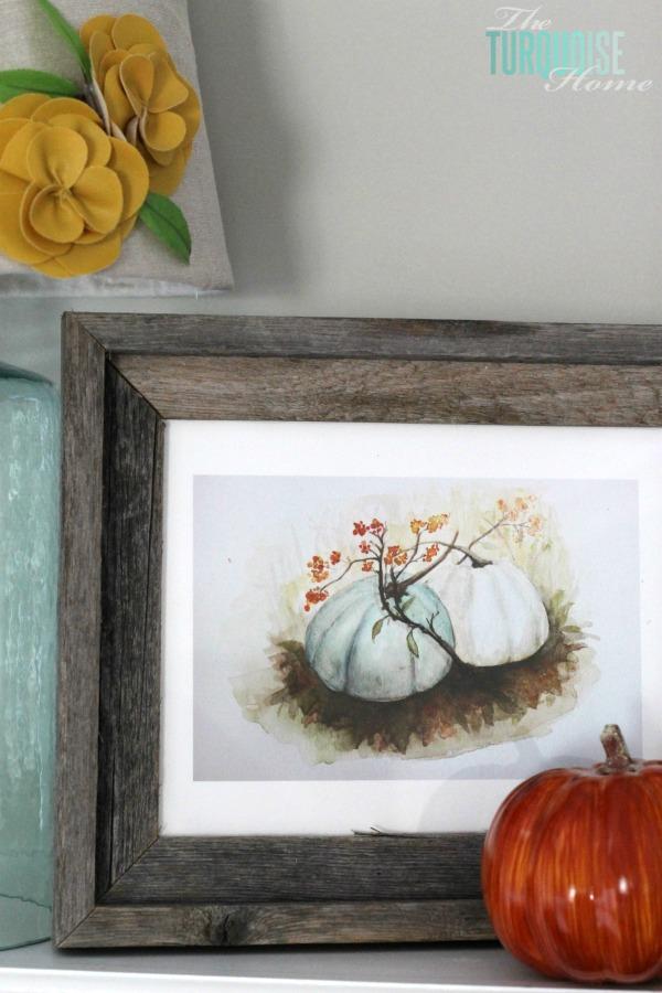 Turquoise and Orange Fall Harvest Mantel | TheTurquoiseHome.com