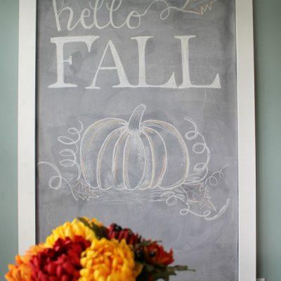 Hello Fall Chalkboard Art