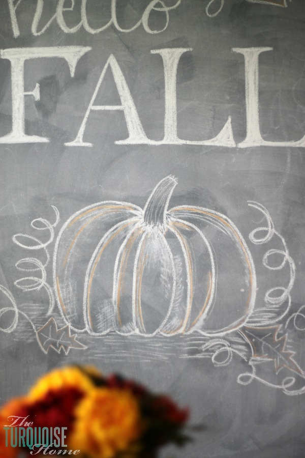 Hello Fall Chalkboard Art | TheTurquoiseHome.com