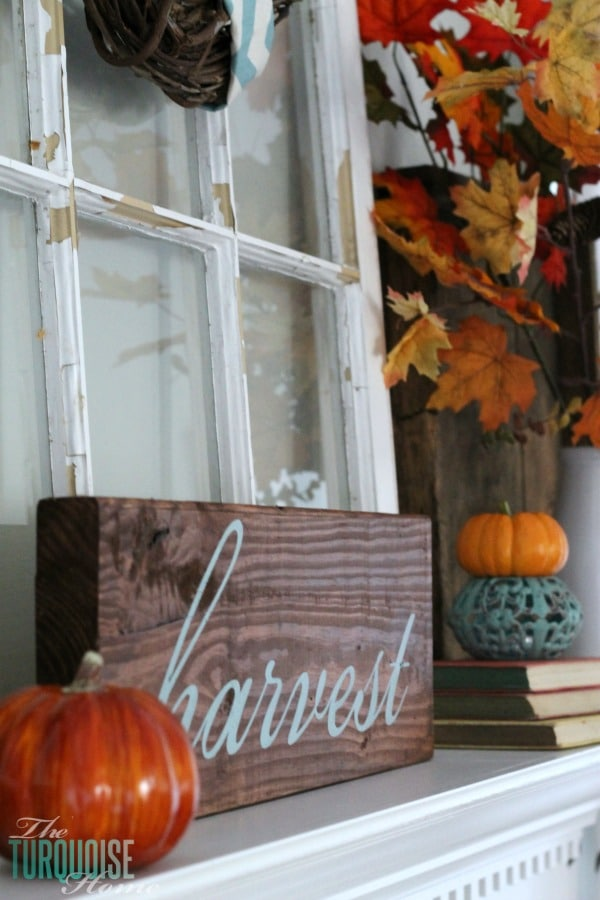 Turquoise and Orange Fall Harvest Mantel | TheTurquoiseHome.com